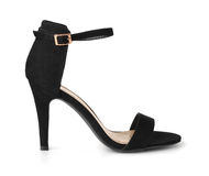 Black suede high heel shoe Royalty Free Stock Photography