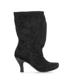Black suede high-heeled boots Stock Image