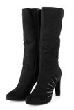 Black suede ladies boots Stock Photos