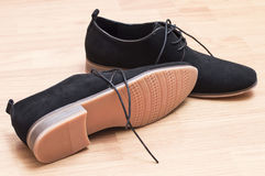 Black suede shoes with laces Royalty Free Stock Images