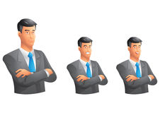 Black suit business man with arms crossed bust Stock Images