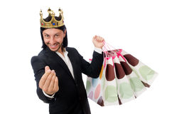 The black suit man holding plastic bags isolated on white Royalty Free Stock Image