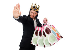 Black suit man holding plastic bags isolated on white Stock Photo