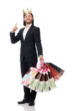 Black suit man holding plastic bags isolated on white Stock Photos