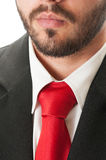 Black suit, red tie and beard Stock Photography