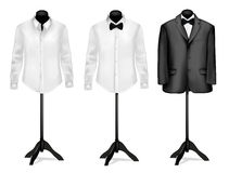 Black suit and white shirt with butterfly. On mannequins. Vector illustration Stock Photos
