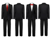 Black suit and white shirt with butterfly and tie. Vector Stock Image