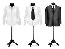 Black suit and white shirt on mannequins. Vector.