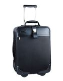 Black suitcase. The black suitcase on white background Stock Photography