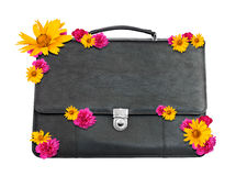 Black suitcase with flowers Royalty Free Stock Image