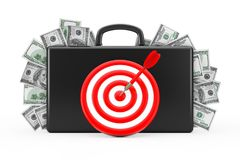 Black Suitcase Full of Hundred Dollars with Target as Darts. 3d. Black Suitcase Full of Hundred Dollars with Target as Darts on a white background. 3d Rendering Stock Photos