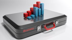 Suitcase for business with 3D bar chart - 3D rendering. A black suitcase is laying on a white surface. A red write Business is on its side and on its top there Stock Photo