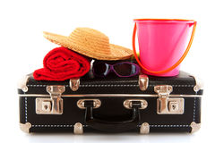 Black suitcase with luggage Stock Image