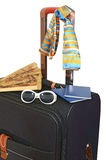 Black suitcase trips and accessories for rest Royalty Free Stock Photo