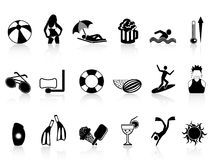 Black summer heat icons set Royalty Free Stock Photos