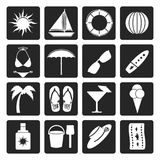 Black Summer and Holiday Icons Stock Photo