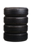 Black summer tires isolated on white Royalty Free Stock Image