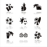 black summer vacation icons Royalty Free Stock Images