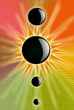Black Sun. Black circles and shiness with colours Royalty Free Stock Images