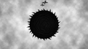 Black sun rotates attracts crows animation