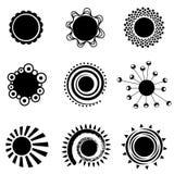 Black sun symbols. Set of black sun symbols vector Royalty Free Stock Photo