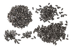 Black sunflower seeds isolated on white background Royalty Free Stock Photography