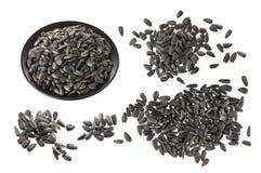 Black sunflower seeds isolated on white background Stock Images