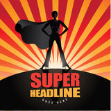 Black Super hero woman background. Super hero woman background with copy space. EPS 10 vector Royalty Free Stock Image