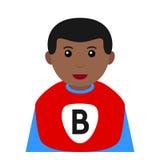 Black Superhero Boy Avatar Flat Icon Stock Photos