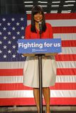 Black supporter of Hillary Clinton Campaign Rally for Presidency. LOS ANGELES, CA - APRIL 16, 2016: Black Female supporter of US Democratic Presidential stock photo