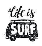 Black surfing badge Stock Photos