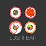 Black sushi bar food logo vector template vector illustration