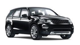 Black SUV car. Isolated on white background stock illustration