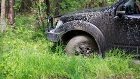 Black SUV got stuck in the mud in the forest, off-road stock footage