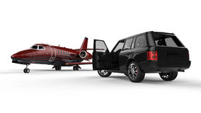 Black SUV limousine with a private jet Royalty Free Stock Photography