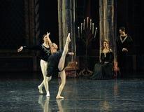 The black swan flapping its wings-ballet Swan Lake. In December 20, 2014, Russia's St Petersburg Ballet Theater in Jiangxi Nanchang performing ballet Swan Lake Royalty Free Stock Photos