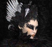 The black swan portrait. Portrait of a beautiful woman ispired by the black swan ballet Royalty Free Stock Photos