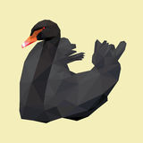 Black swan red beak low polygon  on yellow background Royalty Free Stock Image