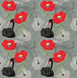 Black swan and red flowers Royalty Free Stock Photo