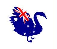 Black Swan silhouette with the flag of Australia stock illustration