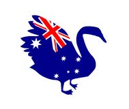 Black Swan silhouette with the flag of Australia vector illustration