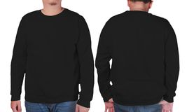 Black sweater long sleeved shirt mockup template Royalty Free Stock Photography