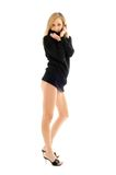 Black sweater pin-up Stock Photos
