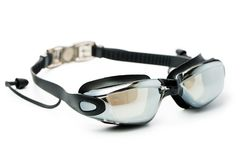 Black swim goggles. With ear protector isolated on white background Stock Photos
