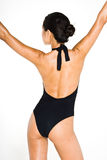 Black swim suit stretch Stock Images