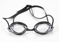 Black Swimming Goggles Front. Black and clear pair of swimming goggles Royalty Free Stock Photo
