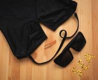 Black swimsuit with sunglasses. Female Black swimsuit with sunglasses Stock Image