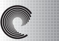 Black Swirl Design on Gray Dot Background Stock Images