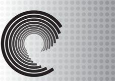 Black Swirl Design on Gray Dot Background stock images