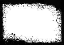 Black swirls grunge frame. A grunge black frame bordered with big swirls royalty free illustration